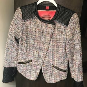 Cropped tweed and leather jacket